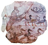 Cat guarding geese c1120 BC Egypt.jpg